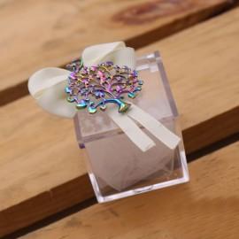 Bomboniera Compleanno Portachiave Albero della Vita Cuori Rainbow su Plexiglass Confettata