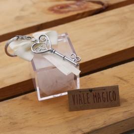 Chiave Cuore Infinito per Matrimonio Portachiave su Plexiglass Confettata