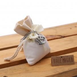 Bomboniera Compleanno Portachiave Corona in Acciaio con Confettata e Sacchetto