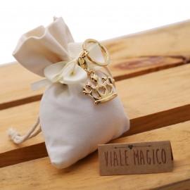 Bomboniera Portachiave Corona Compleanno Gold con Confettata e Sacchetto