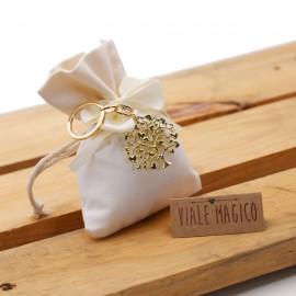 Portachiave Albero della Vita Cuori Gold su Sacchetto Confettata