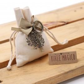 Bomboniera Matrimonio Portachiave Albero della Vita Cuori Bronze su Sacchetto Confettata