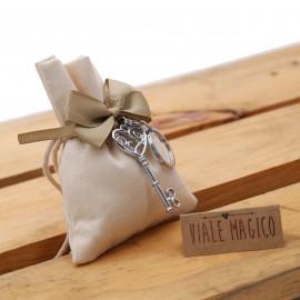 Chiave Cuore Infinito per Matrimonio Portachiave su Sacchetto Confettata