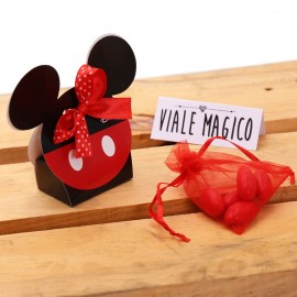 Bomboniere Compleanno Topolino Orecchie Astuccio Classic rosso e nero con Confetti