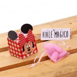 Bomboniere Comunione Scatoline Minnie Smile Quadrettate Rosse con Confetti