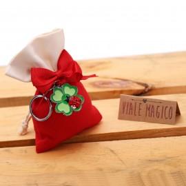 Gadget Portafortuna Portachiave Quadrifoglio e Coccinella con Sacchetto