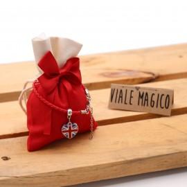 Bomboniera Tema London Mini Cuore Compleanno Braccialetto con Sacchetto