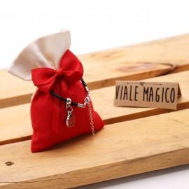Mini Coccinella Fortunata a Pois Bracciale Compleanno con Sacchetto