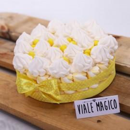 Bomboniere Compleanno Torta Marshmallow Ciuffetti di Panna Bianca e Gialla