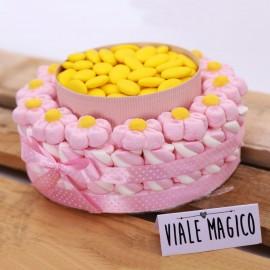 Torta Marshmallow Caramelle Flower per Prima Comunione Bimba