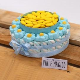 Torta Marshmallow Caramelle Flower per Prima Comunione Bimbo