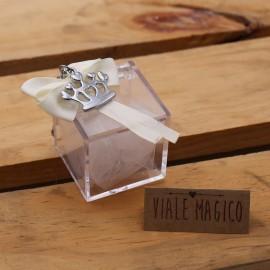 Bomboniera Compleanno Portachiave Corona in Acciaio con Confettata e Plexiglass