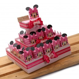 Bomboniere Compleanno Scatoline Minnie Smile Quadrettate Fucsia con Confetti