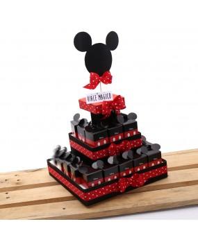 Scatoline Topolino Orecchie Classic rosso e nero con Confetti