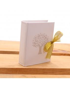 Bomboniere Anniversario Libro Book Albero della Vita Avana con Nastro Glitter e Confetti