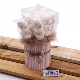 Box Marshmallow a righe con Caramelle Trecce e Palline Tortora