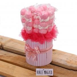 Box Marshmallow a righe con Caramelle Trecce e Palline Rosa