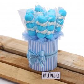 Box Marshmallow a righe con Caramelle Trecce e Palline Celeste