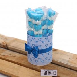 Box Marshmallow Heart con Caramelle Trecce e Cuori Celeste