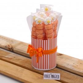 Box Marshmallow Flower con Caramelle Arancio