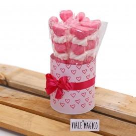 Box Marshmallow Heart con Caramelle Trecce e Cuori Fucsia