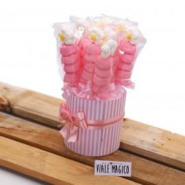 Box Marshmallow Flower con Caramelle Rosa