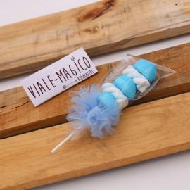 Spiedini Marshmallow con Caramelle Trecce e Palline Celeste