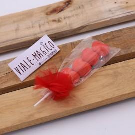 Spiedini Marshmallow Heart con Caramelle Cuori Rossi