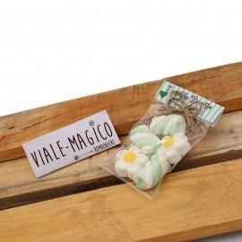 Bustina Promessa Marshmallow con Fiori e Trecce Verde