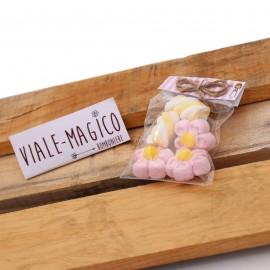 Bustina Comunione Marshmallow con Fiori e Trecce Rosa e Gialle