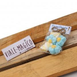 Bustina Comunione Marshmallow con Fiori e Trecce Celeste e Gialle