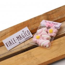 Bustina Nascita Bimba Marshmallow con Fiori e Trecce Rosa