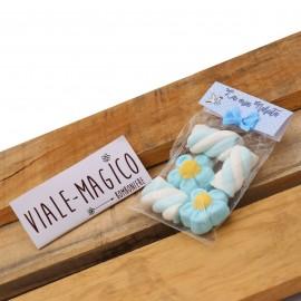 Bustina Nascita Bimbo Marshmallow con Fiori e Trecce Celeste