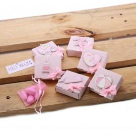 Scatoline con applicazioni Baby per Nascita Femminuccia Confettata