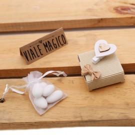 Bomboniere Matrimonio LowCost Scatoline con Mollettina Cuore Confettata
