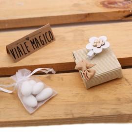 Bomboniere Matrimonio Scatoline con Mollettina Fiore Confettata