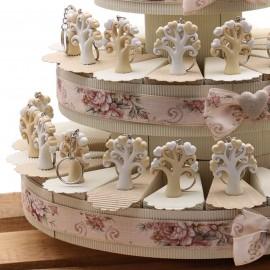 Torta Bomboniera Matrimonio con Albero della Vita Portachiave Heart