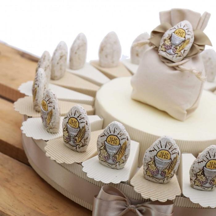 Torta Bomboniere da 20 Pezzi con Pietra Calice Prima Comunione