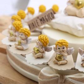 Torta Bomboniere Battesimo Statuine Angioletto Biondo con Cuore e Stella
