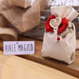 Bomboniere Matrimonio Sacchetto Lux Calamita Chiave Cuoricino Rosso con Confetti