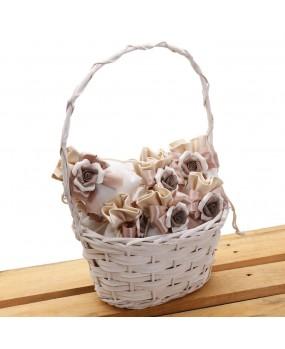 Bomboniere Matrimonio Sacchetto Lux con Fiore in Porcellana Brown e Confettata