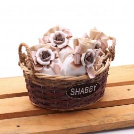 Sacchetto Lux con Fiore in Porcellana Brown e Confetti