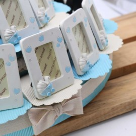 Maxi Torta Bomboniera con Portafoto Cuori Carrozzina Bimbo