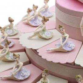 Bomboniere Comunione Maxi Torta con Statuina Elegante Ballerina Glitter