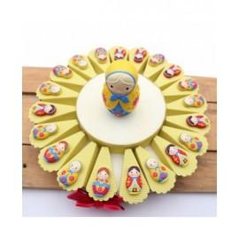 Magnete Compleanno Matrioske Colorate Torta Bomboniere