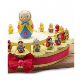 Portachiave Compleanno Matrioske Colorate Torta Bomboniere