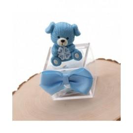 BomboniereNascita con Confetti statuina Cagnolino Lucky Bimbo su Plexiglass