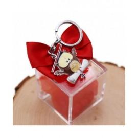 Bomboniere Laurea Confezionate su Plexiglass con Portachiavi Gufetto con Ali 3D