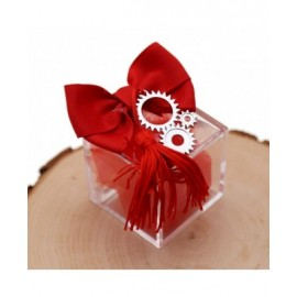 Bomboniere Con Confetti e Plexiglass Ingranaggio Laurea con Nappina