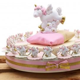 Torta Bomboniere Unicorno Nascita Bimba Fantasy Portachiave Confettata